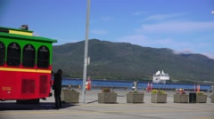 Cruise liner and clean bus in port Stock Footage