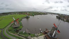 Zaandam Amsterdam Zaanse Schans flying away backwards 4k Stock Footage