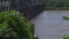 Mississippi River bridge and American flag - stock footage