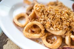 Fried calamari with garlic - stock photo
