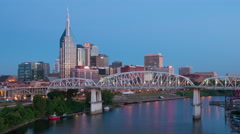 4K Nashville Skyline Morning Twilight Timelapse 1a Stock Footage