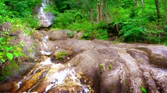 Stock Video Footage of Water Tumbling down a Natural Waterfall in the Jungle