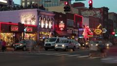 4K Nashville Honky-tonk District Twilight Timelapse 4a Stock Footage