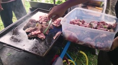 Cooking Meat On Grill Stock Footage