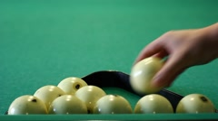 Prepare billiard balls for new game Stock Footage