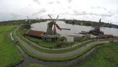 Zaandam Zaanse Schans aerial bird eye helicopter view of the windmills 4k Stock Footage