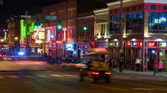 4K Nashville Honky-tonk District Night Timelapse 7a Stock Footage