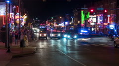4K Nashville Honky-tonk District Night Timelapse 8a Stock Footage