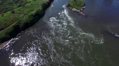 Aerial shot of the Reversing Falls in Saint John New Brunswick. - stock footage