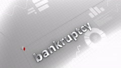 Growing chart Bankruptcy, default. - stock footage