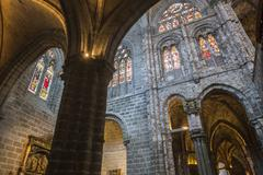 Inside view of Gothic Archs with arabesque of the Cathedral in Avila, Spain - stock photo