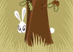 Hare in the forest - stock illustration