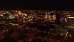Aerial Footage of Las Vegas Strip at night Stock Footage