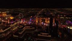 Las Vegas Strip Aerial Night Footage Stock Footage