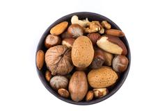 Nuts mix in bowl - stock photo