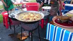 Frying Chicken In Big Pan Stock Footage