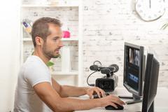 technician video editor - stock photo