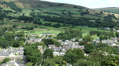 Elevated pan shot of scenic Peak District village. Stock Footage