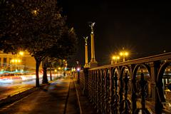 Night street with trees and steel banisters close to riverbank. - stock photo