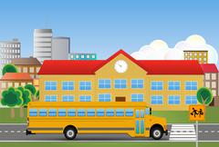 Illustration of yellow school bus with educational institution Stock Illustration