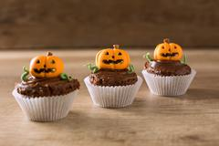 Halloween pumpkin, little monster dessert - stock photo