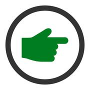 Index Finger flat green and gray colors rounded vector icon - stock illustration