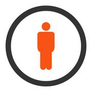 Man flat orange and gray colors rounded vector icon Stock Illustration