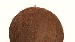 Top of coconut isolated on white, rotation Stock Footage