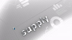 Growing chart, supply, demand, production, source Stock Footage