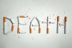 word DEATH, made of cigarettes - stock photo