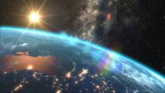 Sunrise over the Earth - stock footage