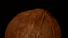 Top of coconut isolated on black, rotation Stock Footage