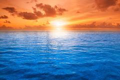 orange mystic sunset - stock photo