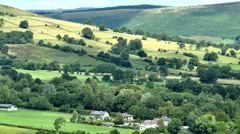 Panoramic view of scenic Peak District village. Stock Footage