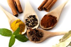 Variety of spices and aromatic herbs Stock Photos