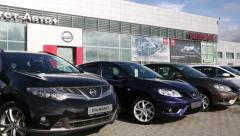 Cars at the dealership of Nissan for the city of Vladivostok, Russia Stock Footage