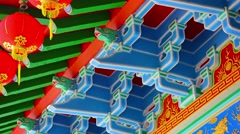 Intricate Ornamentation inside a Chinese Buddhist Temple Stock Footage