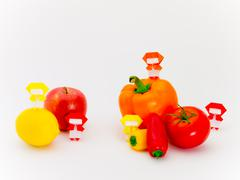 Origami Ninja with Vegetables and Fruits Kuvituskuvat