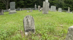 Tombstones Push In, Graveyard with Headstones, New England Stock Footage
