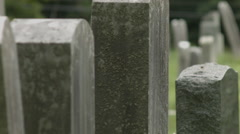 Headstones in row, Graveyard in New England Burial Ground Stock Footage
