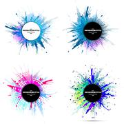 Set of abstract circle white banners with place for text and watercolor stains Stock Illustration