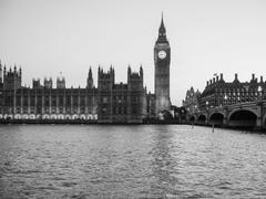 Stock Photo of Black and white Houses of Parliament in London