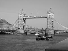 Stock Photo of Black and white Tower Bridge in London