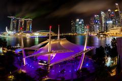 Singapore Night Skyline on the Esplanade - stock photo