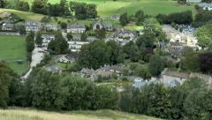 Elevated view of scenic Peak District village. Stock Footage