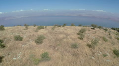 aerial view of Sea of Galilee, Lake Kinneret, from the Golan Heights, Israel - stock footage