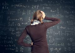 Student have a problem with mathematics - stock photo