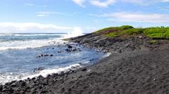 Black sand beach in Kona Hawaii - stock footage