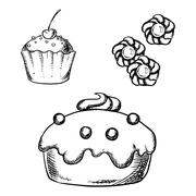 Stock Illustration of Cake, cupcake and cookies sketches