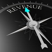Revenue word on the black compass Stock Illustration